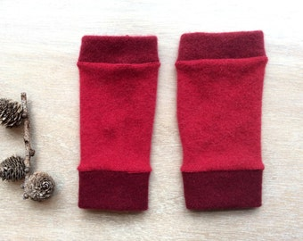 Fingerless Gloves in reds, wrist warmers, typing gloves
