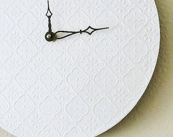 Sale, Minimalist Wall Clock, White Wall Clock, Recycled Art,  Home and Living, Decor and Housewares, Recycled Art,  Unique Gift