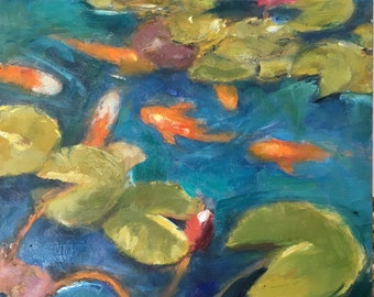 Koi pond, original oil painting on board. 18x24 cm