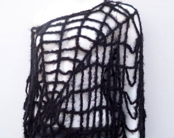 Halloween Spiderweb Costume Women Black Spider Web Poncho Cape Crochet Capelet Witch Clothing Black Halloween Spiderweb Clothes One Size