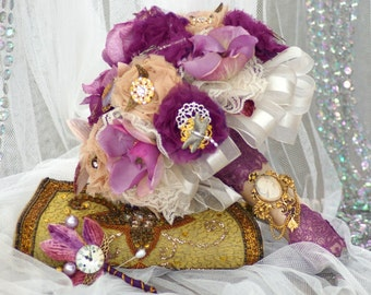 Steampunk Brooch Bridal Bouquet Purple Lavender & Beige