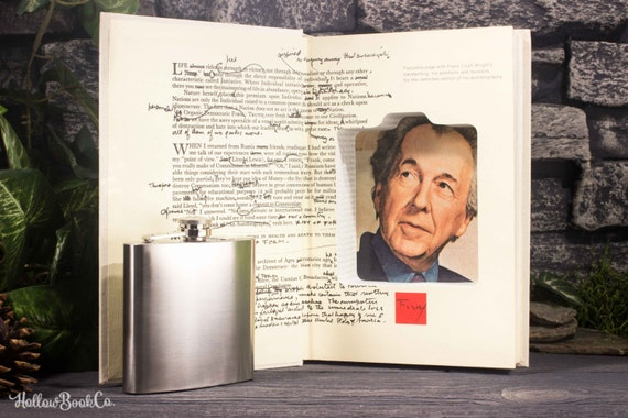 Hollow Book Safe and Hip Flask -  Frank Lloyd Wright