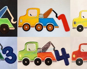 Tow Truck applique Set of 6 designs - Truck AND Numbers 1 thru 5 Applique Designs - 4x4, 5x7 and 6x10 hoops