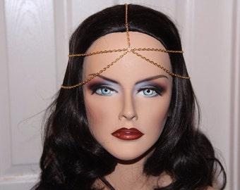 Gold Head Chain-Head Chain-Hair Jewelry-Boho-Gold-Hair Chain-Chain Headband-Hair  Accessories-Head Piece-Head Jewelry-Bohemian-Accessories