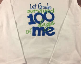 100 Days Of School Shirt-Boys School Shirt-100 Days Of 1st Grade-Back To School-School Shirts-100th Day Of School-Boys Embroidered Shirt