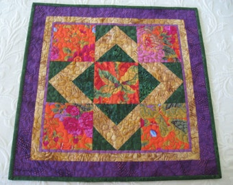 Quilted Small Table Topper, Contemporary Kaffe Fassett Florals in Orange Pink Green Purple Gold #1