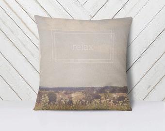 Relax Throw Pillow Cover   Nature Landscape   Art   Calm Peaceful Meditative Decor   Home Decor