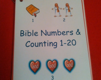 Numbers - Counting, Bible, Christian Learning, Homeschool, Preschool, Kindergarten, 1-20, Numbers Flashcards, Laminated, Church, Travel