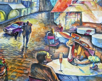 original watercolor painting size 40x48 cm