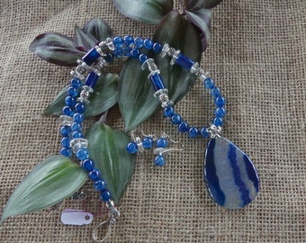 21 Inch Blue Dragon Vein Agate Necklace with Earrings