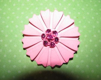 Vintage Pink With Rhinestone Center Enamel Flower Brooch Pin