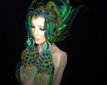 READY TO SHIP Peacock fairy queen fae Fantasy fairy nymph goddess headdress headpiece gaga steampunk burlesque costume