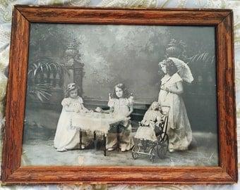 Vintage print, Vintage Tea Time print ,Framed 10x13
