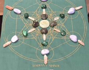 Crystal grid metatrons cube sacred geometry merkaba bandana mediation limited edition