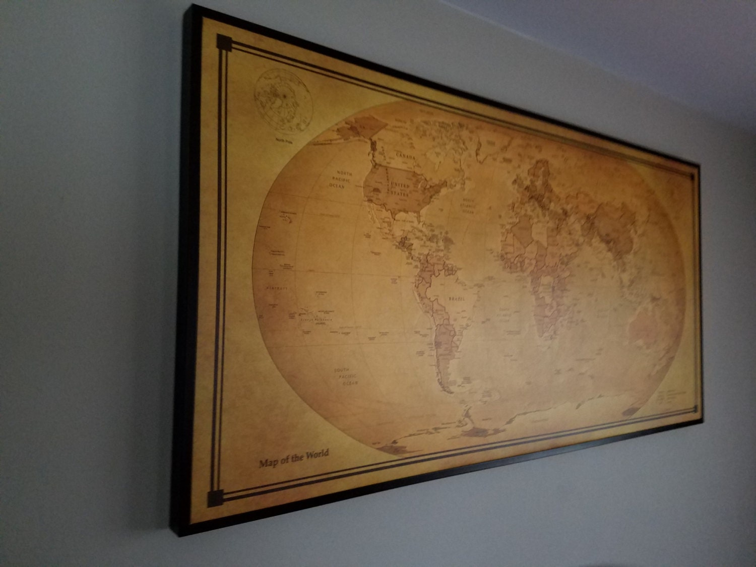 Large Framed World Map on Canvas Size 30x60 Old by noblecanvas