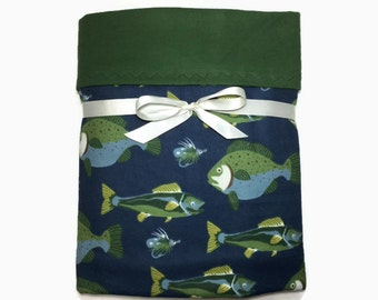 Flannel Baby Blanket - Baby Boy Blankets - Fish Blanket - Receiving Blanket - Crib Bedding - Toddler - Cot Blanket - Swaddle Blanket - Gifts