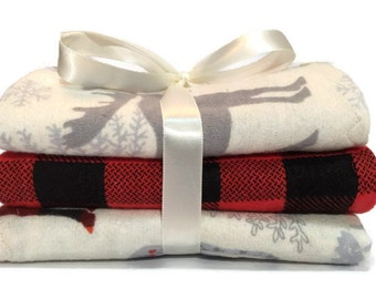 Baby Burp Cloth - Buffalo Plaid - Flannel Burp Cloth - Christmas Burp Cloth - Rustic Baby - Baby boy Burp Cloth - Moose Baby - Baby Burp Pad