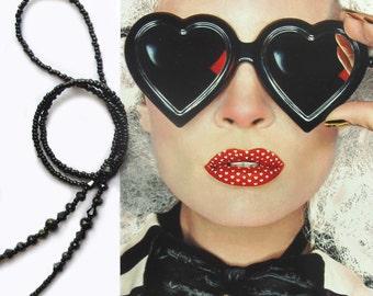 Black eyewear holder,  Eyeglasses crystal bead chain, Sun glasses, Reading glasses, glasses jewelry, Handmade