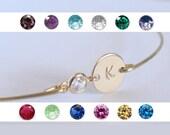 Personalized bangle - Initial birthstone bangle - Bridal personalized initial birthstone bracelet - Bridesmaid gift - Custom initial bangle