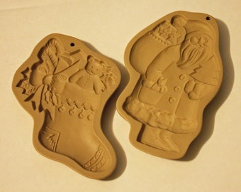 Vintage Brown Bag, Cookie Molds, 1983 Santa Claus and 1994 Christmas Stocking, Paper Mache Molds