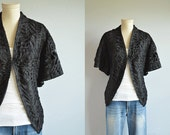 Antique Edwardian Mourning Jacket / 1900s Victorian Black Ribbon Lace Blouse with Butterfly Sleeves