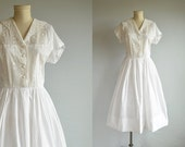 Vintage 1950s Dress / 50s White Embroidered Eyelet with Full Gathered Skirt