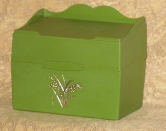 Green Recipe File Box Hard Plastic Uncle Ben's Vintage