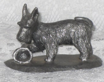 Pewter Scottish Terrier Scotty Dog Figurine Vintage Scottie