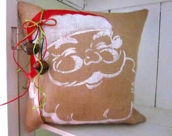 Santa decor, rustic burlap, Christmas pillows, holiday decor, ho ho ho, santa claus, decorative pillows, farmhouse style,