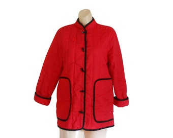 Asian Jacket Oriental Jacket Red Jacket Chinese Jacket Mandarin Collar Quilted Jacket Light Jacket Lightweight Jacket Women Jacket Spring