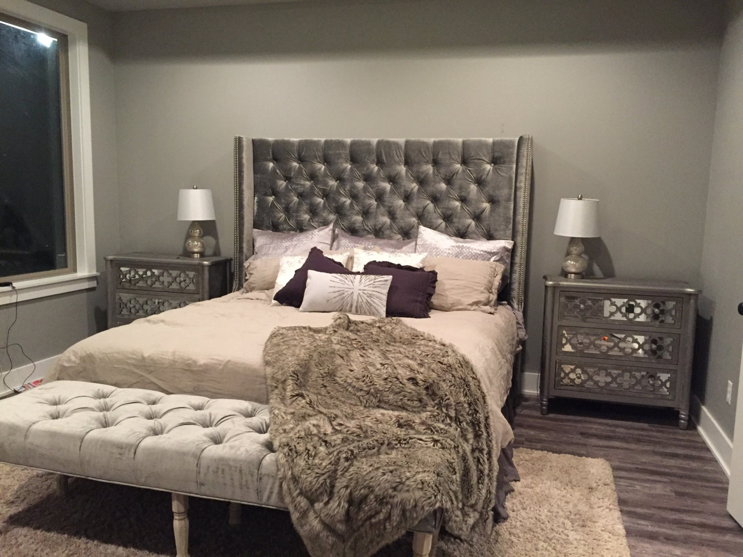 Diamond Tufted Wingback Headboard And Bench Set King Extra