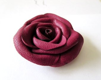 Leather Rose hair tie -leather l hair accessory violet flower leather Rose hair tie  Ponytail Holder