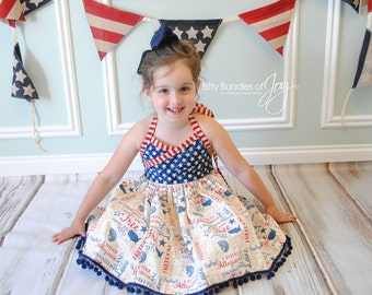 """Fourth of July Dress - Independence Day Dress - Patriotic Dress - Stars Stripes Dress - Vintage Fourth of July Dress - """"Land of the Free"""""""
