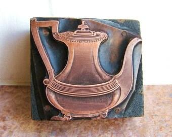 Antique Copper Letterpress Printers Wooden Block of a Teapot c1910