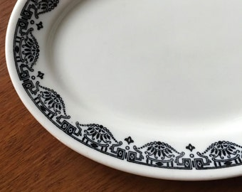 Black Transferware Oval Plate, Dakota by Warwick China, ca. 1940s