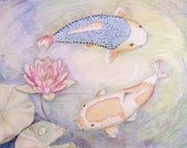 LIMITED EDITION, Koi Fish with Lotus, Feng Shui Symbol for abundance and wealth, Symbol Prosperity, Lotus Pond Art, Print Feng Shui Wealth