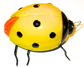 Vintage Lady Bug Lady Bird beetle yellow bug insect