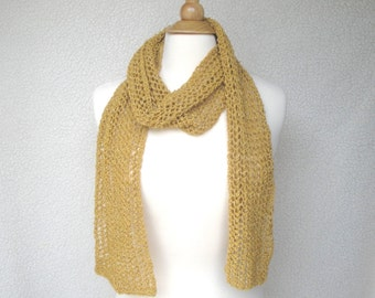 Gold Lace Scarf, Hand Knit Cotton, Sparkle Glitter Metallic, High Fashion, Bright Mustard