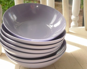 Purple Melmac Bowls Royalon Inc Set Of 7 Made In USA Vintage 1960s