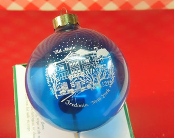 Village Ornament Christmas In Fredonia Old Main Blue Glass Ball Vintage 1996