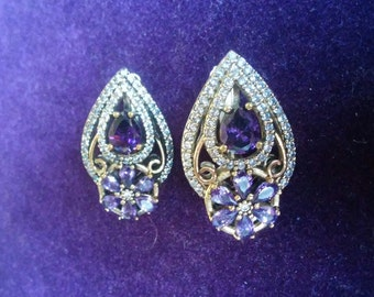 Gorgeous Turkish Amethyst with While Topaz Filigree Earrings