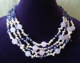 Gorgeous Amethyst Chip with Rose Quartz and Pearl Multi Strand Necklace