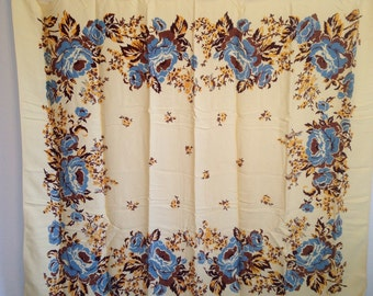 "Vintage Tablecloth, Vintage Floral Tablecloth, Vintage Linens, Brown, Tan, Blue Tablecloth, 58"" x 48"""