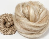Bone  -( 4 oz.)  Custom blended top - BFL / Tussah Silk/ Shetland/ Alpaca/ Soybean Fiber/ Flax ( 25/25/15/15/10/10 /)