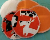 6 reusable flannel cotton nursing pads for bra A B C D DD nursing breastfeeding - a scottish dog's life in orange