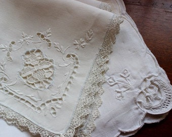 Vintage Napkins Linen 4 Dinner Luncheon Size Unmatched White Cutwork Mixed Lot