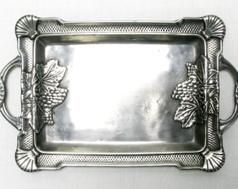 Calling Card Tray, Business Card Tray, Art Nouveau Tray, Decorative Tray, Pewter Tray, Polished Pewter Tray