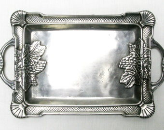 Calling Card Tray, Business Card Tray, Art Nouveau Tray, Decorative Tray, Pewter Tray, Polished Pewter Tray (151)