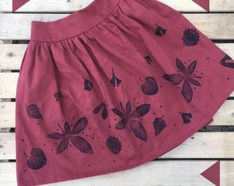 Autumn Women's Skirt- Terracotta fall leaves- handmade Ladies clothing, handprinted, plus sizes, made to order with pockets! Conkers!