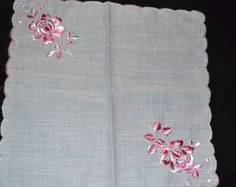 Vintage  White handkerchief / napkin, pink embroidered, scalloped edge, wedding, something old